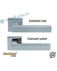 1002 (Quadra II) Quadratrosettengarnitur SlideBloc Edelstahl matt oder poliert Scoop