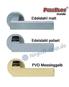 1005 (Quadra) Rosettengarnitur PullBloc Edelstahl o. Messing Scoop