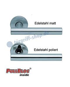 1074 (Roxy) Rosettengarnitur PullBloc Edelstahl matt o. poliert Scoop