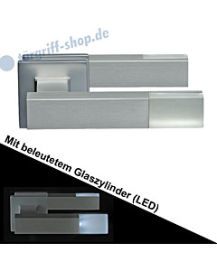 Haustürdrückerpaar 543B/1 eckig mit beleuchtetem Zylinder (LED) Edelstahl matt Schneider + Fichtel