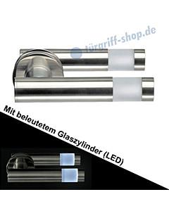 Haustürdrückerpaar 563B/1 mit beleuchtetem Zylinder (LED) Edelstahl matt Schneider + Fichtel