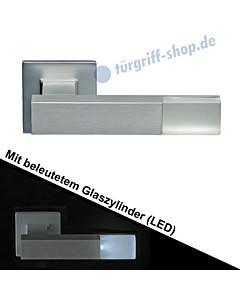 Haustürdrücker 543B/6 eckig mit beleuchtetem Zylinder (LED) Edelstahl matt Schneider + Fichtel