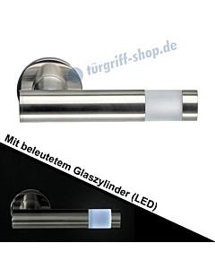 Haustürdrücker 563B/6 mit beleuchtetem Zylinder (LED) Edelstahl matt Schneider + Fichtel