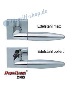1007 (Optima) Quadrat-Rosettengarnitur PullBloc Edelstahl matt o. poliert Scoop