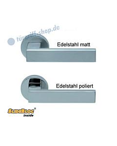 1005 (Quadra) Rosettengarnitur SlideBloc Edelstahl matt oder poliert Scoop