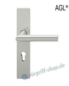 72-1076 Halbgarnitur AGL®, eckiges Langschild mit Drücker 1076 in Alu F1 von FSB