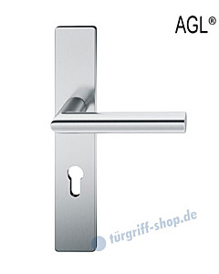 72-1076 Halbgarnitur AGL®, eckiges Langschild mit Drücker 1076 Edelstahl feinmatt FSB