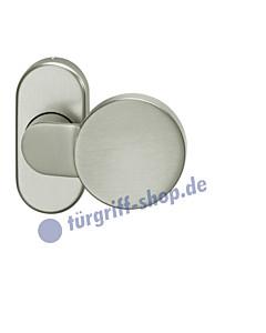 07-0809 Rahmentürknopf gekröpft auf ovaler Rahmenrosette fest oder drehbar in 3 Farben FSB