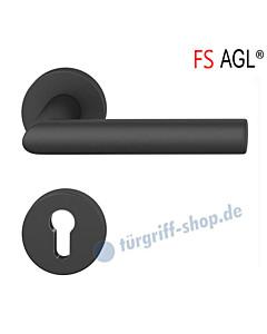 76-1076 Rosettengarnitur AGL® mit Feuerschutz PZ 9 mm Alu gestahlt schwarz eloxiert von FSB