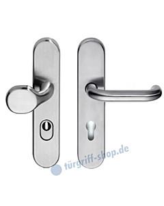 Schutzgarnitur Max U-Form mit KZS Griffplatte/Drücker ES1 Edelstahl matt Edestar