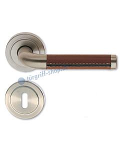 Halbgarnitur Texas-R Basic Edelstahlfarbig-matt / Leder braun Südmetall
