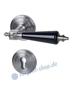 Excellent Platon-R Halbgarnitur PZ Edelstahlfarbig matt / Porzellan schwarz Südmetall