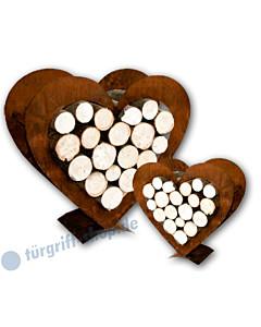 Herz-Holzregal 2-teilig aus gerostetem Metall