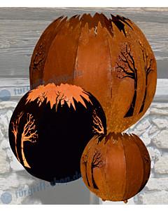 Kugel Baum für Außenbeleuchtung 3 Größen gerostetes Metall