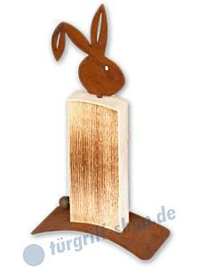 Hase Konrad Höhe 120 cm Fichtenholz / gerostetes Metall