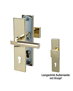 Sicura Alaska Square-LS/LS Schutzgarnitur Knopf/Drücker Robusta Gold Südmetall