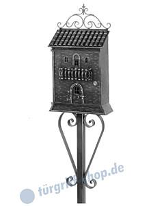 Briefkasten antik Vogelvilla mit Ständer 869 Antik Schwarz Galbusera