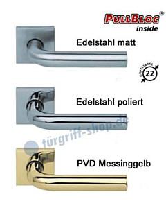 2100 Quadrat-Rosettengarnitur PullBloc Edelstahl matt o. poliert Scoop