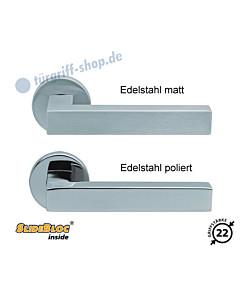 1002 (Quadra II) Rosettengarnitur SlideBloc Edelstahl matt oder poliert von Scoop