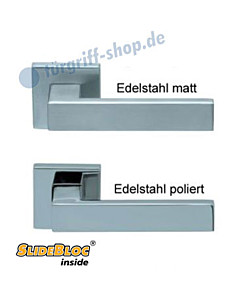 1005 (Quadra) Quadratrosettengarnitur SlideBloc Edelstahl matt oder poliert von Scoop