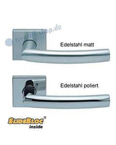 1003 (Geo) Quadratrosettengarnitur SlideBloc Edelstahl matt oder poliert Scoop