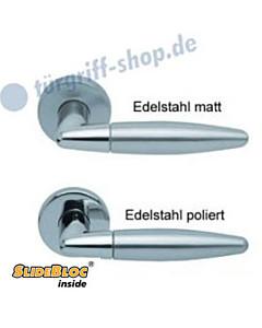 1007 (Optima) Rosettengarnitur SlideBloc Edelstahl matt oder poliert von Scoop