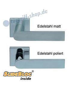 1008 (Semi) Quadrat-Rosettengarnitur SlideBloc Edelstahl matt o. poliert Scoop