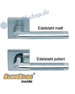 1101 (Duo) Quadrat-Rosettengarnitur SlideBloc Edelstahl matt o. poliert Scoop