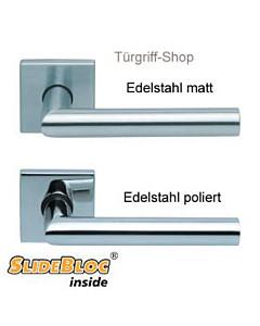 1106 (Thema) Quadratrosettengarnitur SlideBloc Edelstahl matt o. poliert von Scoop