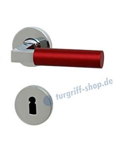 Bauhaus R373 Rosettengarnitur Chrom/Metallic Rot von Jatec