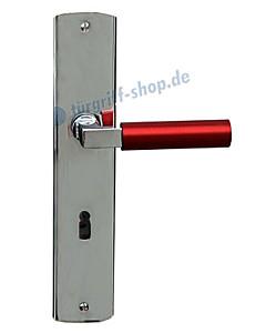 Bauhaus-Reno-S Langschildgarnitur Chrom/Metallic Rot von Jatec