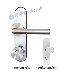 Ferrara Schutzbeschlag Kombi Langschild-Rosette 8/72 mm Edelstahl matt Griffwelt