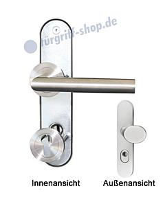 Ferrara Schutzbeschlag Kombi mit KZS Langschild-Rosette 8/72 mm Edelstahl matt Griffwelt