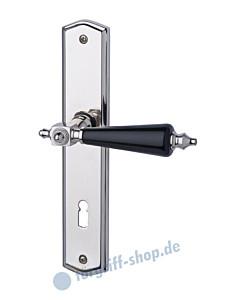 Hendrik-LS Langschildgarnitur Edelstahlfarbig-poliert/Porzellan schwarz Schröder Türgriffe