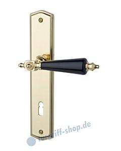 Hendrik-LS Langschildgarnitur Messing poliert/Porzellan schwarz Schröder Türgriffe