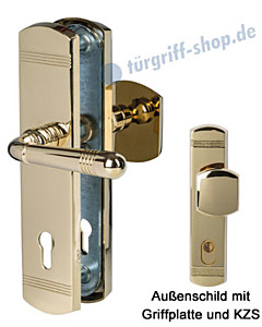 Sicura Scarlet Schutzgarnitur Griffplatte/Drücker KZS Robusta Gold Südmetall