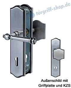 Sicura Mount Everest-LS/LS Schutzgarnitur Griffplatte/Drücker KZS Stahlgrau von Südmetall