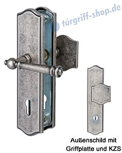 Sicura Mount Everest-LS/LS Schutzgarnitur Griffplatte/Drücker KZS Antik Iron von Südmetall