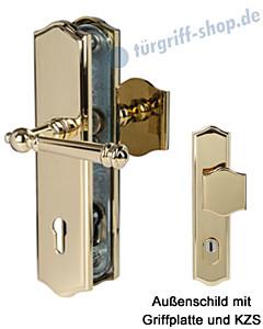 Sicura Mount Everest-LS/LS Schutzgarnitur Griffplatte/Drücker KZS Robusta Gold von Südmetall
