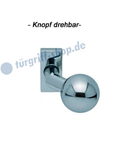 Türknopf gekröpft auf eckiger Ros. drehbar Edelstahl pol Scoop