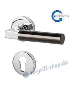 Alaska-R Rosetten-Halbgarnitur Top Speed für Haustüren, Top Speed, Profilzylinder, 8 mm, GK4, Chrom/Schwarz-poliert von Südmetall
