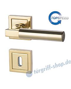 Alaska Square-R Rosettengarnitur Top Speed Robusta Gold-poliert von Südmetall
