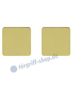 Schlüsselrosettenpaar blind flächenbündig quadratisch 55x55mm Messing poliert PVD Scoop