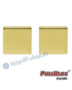 Schlüsselrosettenpaar Blind PullBloc quadratisch 55x55mm Messing poliert PVD Scoop