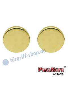 Schlüsselrosettenpaar Blind PullBloc rund Ø 54mm Messing poliert PVD Scoop