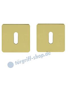Schlüsselrosettenpaar Buntbart flächenbündig quadratisch 55x55mm Messing-poliert PVD Scoop