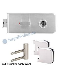 Burano Glastürschloss-Set WC/Bad-Verriegelung Edelstahl matt von Griffwelt