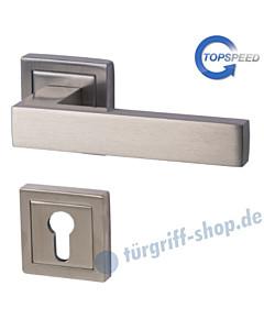 canto Square-R quadrat. Rosetten-Halbgarnitur für Haustüren, Top Speed, Profilzylinder, 8 mm, GK4, Edelstahlfarbig-matt Südmetall