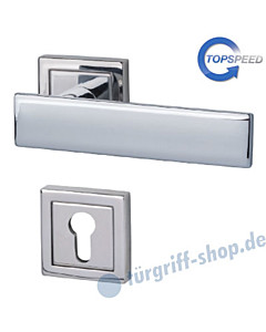 Centurio Square-R quadrat. Rosetten-Halbgarnitur für Haustüren, Top Speed, Profilzylinder, 8 mm, GK4, Chrom Südmetall