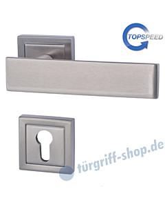 Centurio Square-R quadrat. Rosetten-Halbgarnitur für Haustüren, Top Speed, Profilzylinder, 8 mm, GK4, Edelstahlfarbig-matt Südmetall